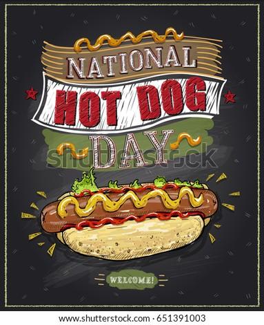 National hot dog day chalkboard poster, vector design