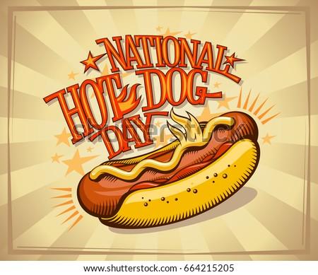 National hot dog day vector design, vintage style