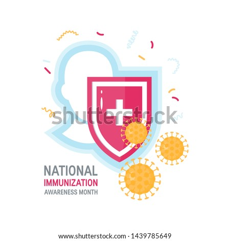 National immunization awareness month concept. Head with shield and viruses in front of it. Vector illustration on white background.