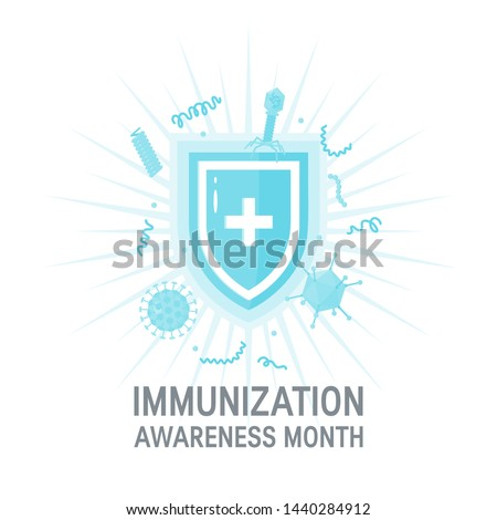 National immunization awareness month concept. Medical shield surrounded by viruses and bacterium. Vector illustration on white background.