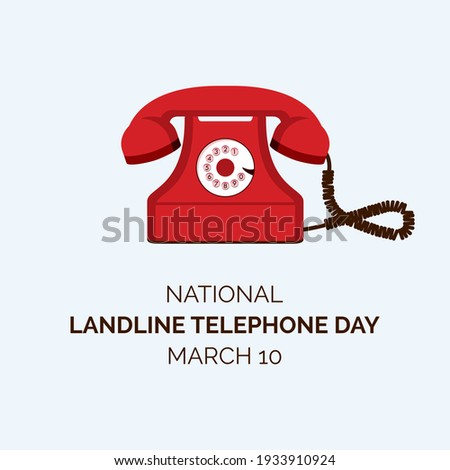 National Landline Telephone Day vector. Old red telephone vector. Landline Telephone Day Poster, March 10. Important day