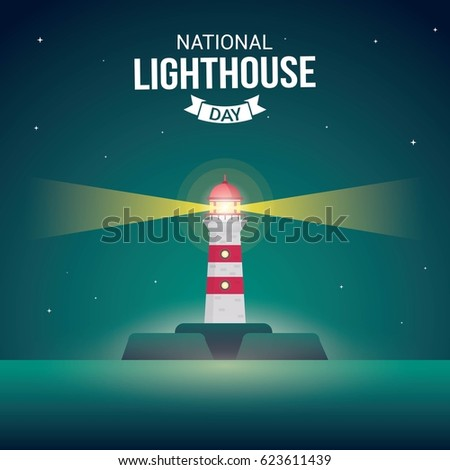 National Lighthouse Day Vector Illustration. Suitable for Greeting Card, Poster and Banner.