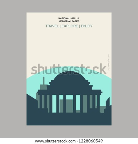 National Mall and Memorial Park Washington, DC, USA Vintage Style Landmark Poster Template