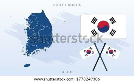 National map of South korea, Vector flag of South korea, South korea map, illustration flag size vector of South korea, map vector, blue, white, red.
