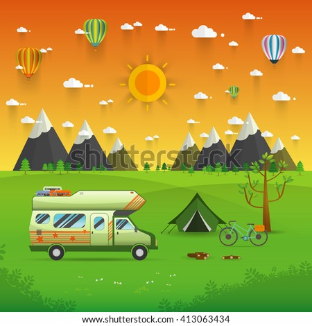 National mountain park camping scene with family trailer caravan . Campsite place landscape with RV traveler truck, tent,bike, campfire, Hiking journey vacation concept.vector illustration