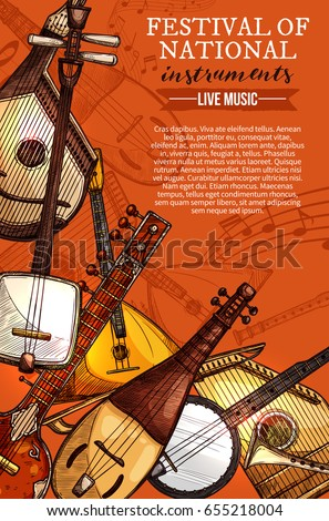 National musical instruments festival poster for folk music concert. Vector design of string pluck ethnic mexican banjo guitar or russian balalaika and japanese biwa koto, greek zyther or sitar