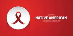 National native American HIV AIDS awareness day concept design. 20 March. Red ribbon vector in white circle isolated in red background.