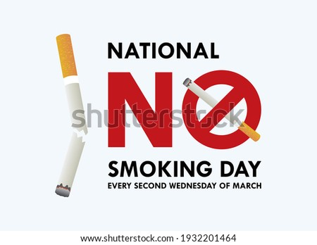 National No Smoking Day vector. Crossed out cigarette icon vector. Stop smoking campaign. No smoke ban icon. No Smoking Day Poster, Second Wednesday in March. Important day