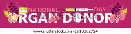 National Organ Donor Day is observed on February 14, 2020. Human organ donor transplantation concept vector for banner, flyer, medical website in cartoon style on floral, botanic background.