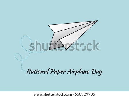 National Paper Airplane Day vector. Vector illustration of a paper airplane. Important day