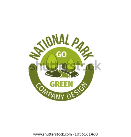 National park and green landscaping design company icon template of trees. Vector flat badge for city urban horticulture and outdoor landscape designing and environment ecology association project