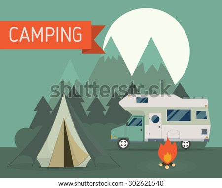 National Park Mountain Camping Scene With Family Trailer ...