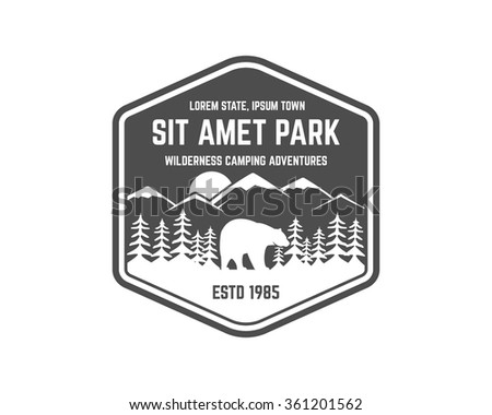 National park vintage badge. Mountain explorer label. Outdoor adventure logo design with bear. Travel and hipster insignia. Wilderness, forest camping emblem Hiking, backpack Vector monochrome