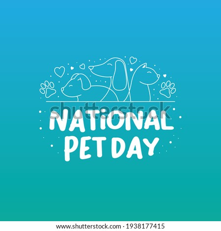 National pet day holiday social media post and card design with cute pets