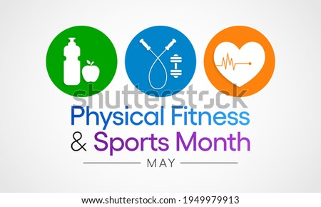 National Physical fitness and sports month observed each year in May to promote healthy lifestyles among people. vector illustration.