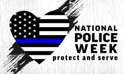National Police Week background -  heart with grunge flag United States of America with blue line. Poster, card, banner and background