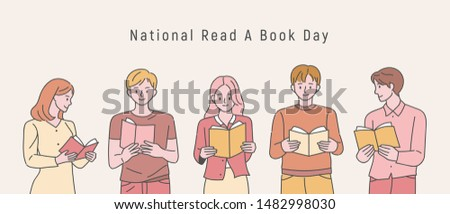 National read a book day. People are standing side by side holding books and reading. flat design style minimal vector illustration.