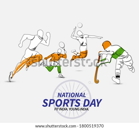 national sports day. vector illustration of different sports.