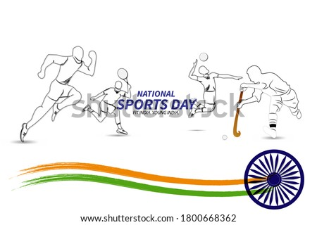national sports day. vector illustration of different sports