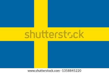 national Sweden flag in the original size and proportion