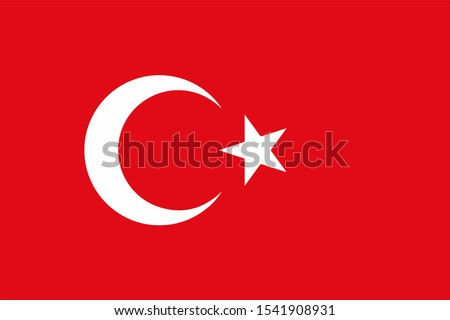 National Turkey flag. Simple flat vector illustration eps10