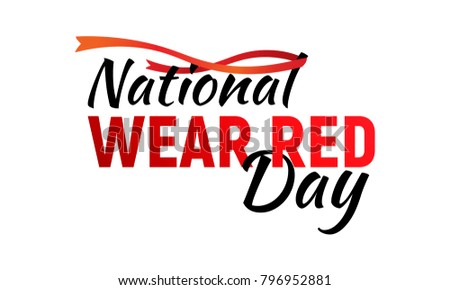 National wear red day isolated on white background. Raster illustration for February 2 date holiday. Great for invitation, card, product packaging, header, poster, label, banners, brochure, wallpaper.