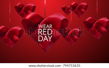 National wear red day. Vector holiday illustration of realistic hanging woven fabric hearts. Awareness day of women heart desease prevention. Medical cardiology concept. Healthcare banner design
