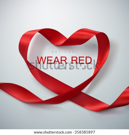 National wear red day. Vector illustration of ribbon heart.