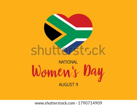 National Women's Day August 9 vector. Flag of South Africa in heart shape vector. South African holiday. Women's Day Poster, August 9. Important day