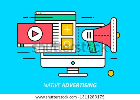Native advertising. Colorful illustration on bright cyan background. Modern outline style.