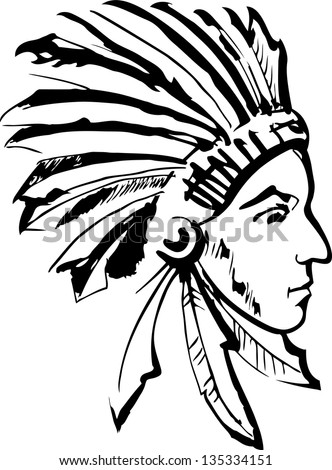 c32fa8316 tribe chief warrior wearing feather headdress with wolf head - black and white  vector design # · Native American #135334151