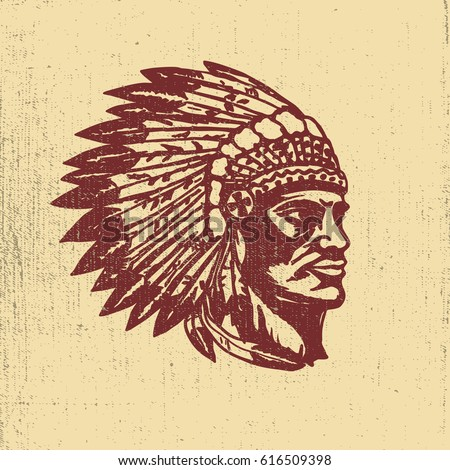 Native american chief head illustration. Design elements for logo, label, emblem,sign. Vector illustration