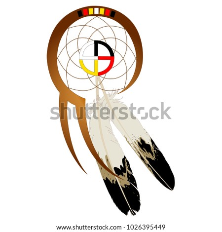 Native American Dream catcher with medicine wheel and two feathers