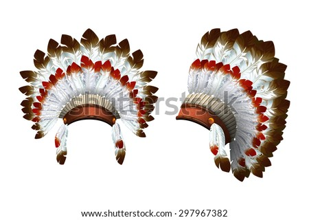Native American feathered headdress. Front view and a side view. Isolated vector.