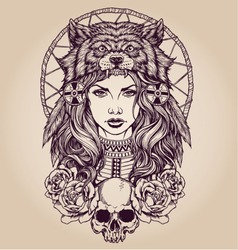 Native American girl with Wolf headdress Lineart