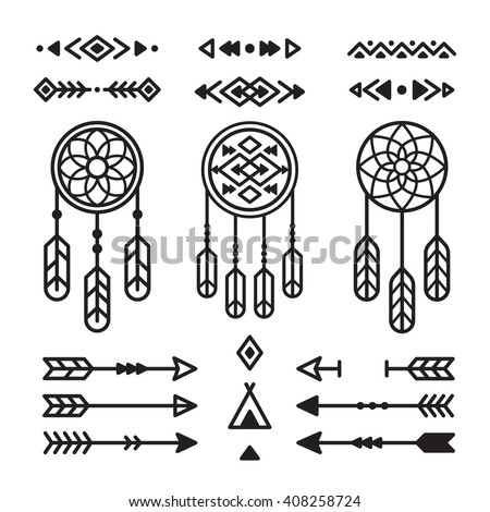 Native American Indian design elements set. Borders, arrows, dream catchers, ornaments and other symbols. Tribal vector elements in modern geometric style.