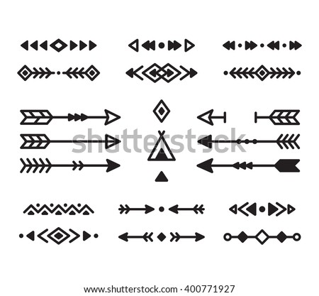 Stock Vector Native American Indian Design Elements Set Borders Arrows Ornaments And Other Symbols Tribal on value drawing