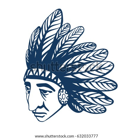 8c9d4bcaa Native American Indian head with war bonnet, feather headdress. Graphic  illustration with injun portrait