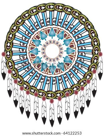 Native American Indian medicine shield, vector