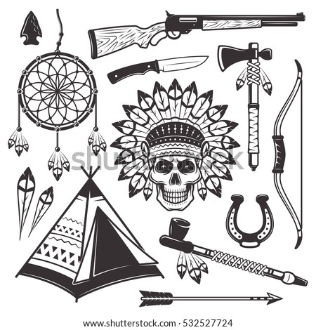 Native american indian set of vector objects and graphic elements in monochrome vintage style for your custom emblem, label, logo design isolated on white background