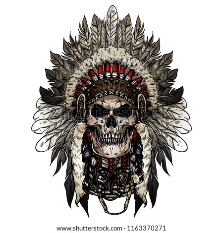 Native American indian skull face