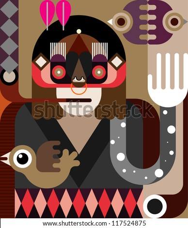 Native American Indian smoking a pipe - color vector illustration.