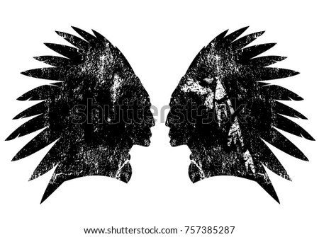 f8756f27c Native american indian warrior profile with feather headdress - black and white  vector design
