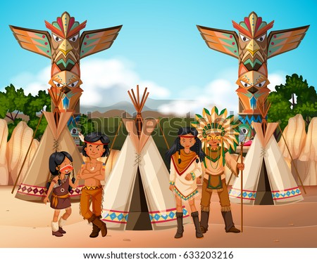 native american indians at camp