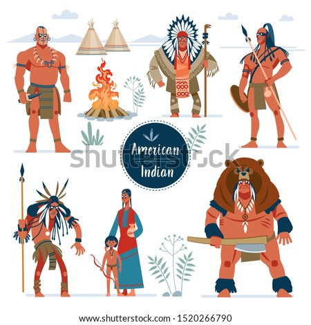 Native american indians. Fierce warriors characters. Indians in traditional costumes. Native american family, girl, shaman, boy with a bow. Colorful vector illustration in flat, cartoon style.