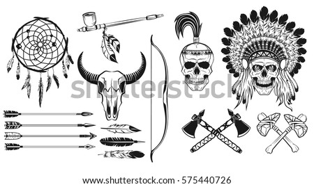 native american indians icons set (bow and arrow, tomahawk, axe, chief headdress, peace pipe, dream catcher, skull); vector illustration