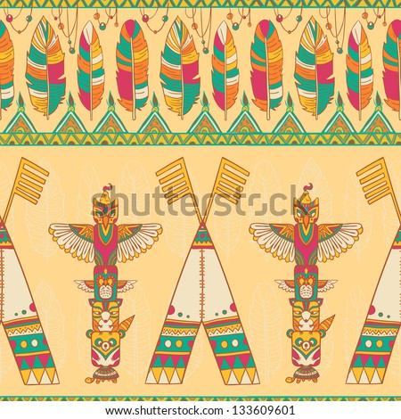 Native american indigenous ornamental seamless pattern background with wigwam and totem poles.