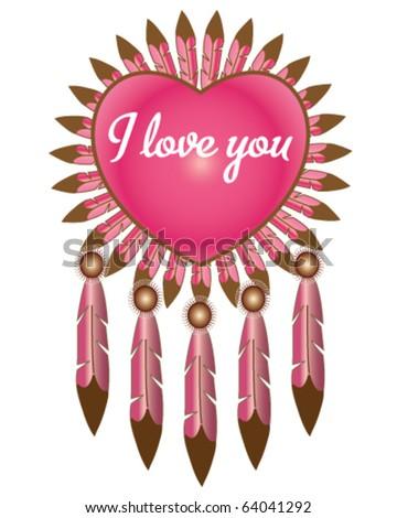 Native American medicine shield valentine - stock vector