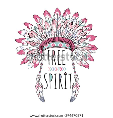 native american poster, t-shirt design, free spirit, indian war bonnet, lettering