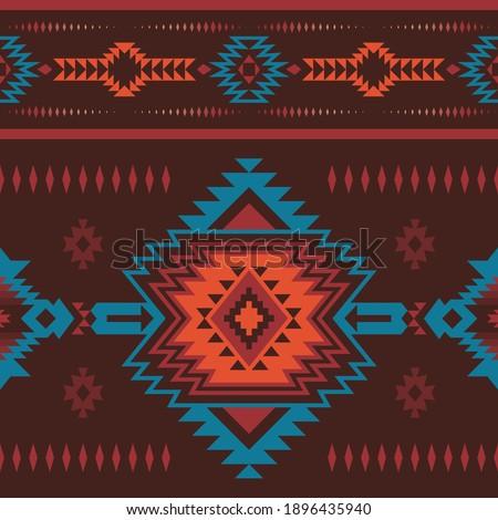 Native American Southwest, Aztec, Navajo seamless pattern. Tribal geometric print. Ethnic design wallpaper, fabric, cover, textile, rug, blanket. Stockfoto ©